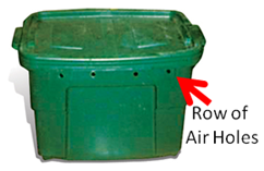 worm bin with row of air holes